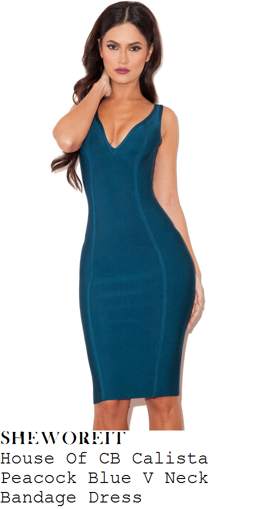 vicky-pattison-blue-deep-v-plunge-bodycon-bandage-dress