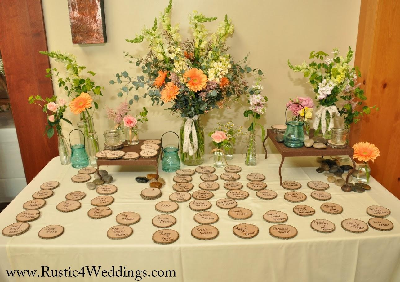 Rustic 4 weddings wood slices used as escort cards for wedding wood slices used as escort cards for wedding junglespirit Choice Image