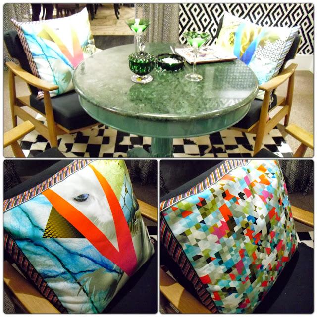 mesa com tampo verde, poltrona e almofadas - sala bar - Leonel Fernandes - Santos Arquidecor 2013