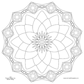 Waterlily and Ruby mandala for July- JPG version