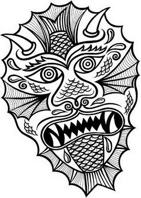 Chinese dragon head coloring sheet for Chinese dragon face template
