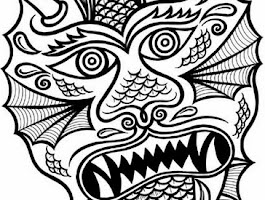 Chinese Dragon Head Coloring Sheet