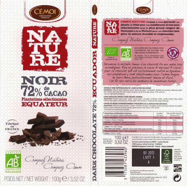 tablette de chocolat noir dégustation cémoi nature equateur noir 72