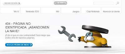 Página de error en la web de Nintendo