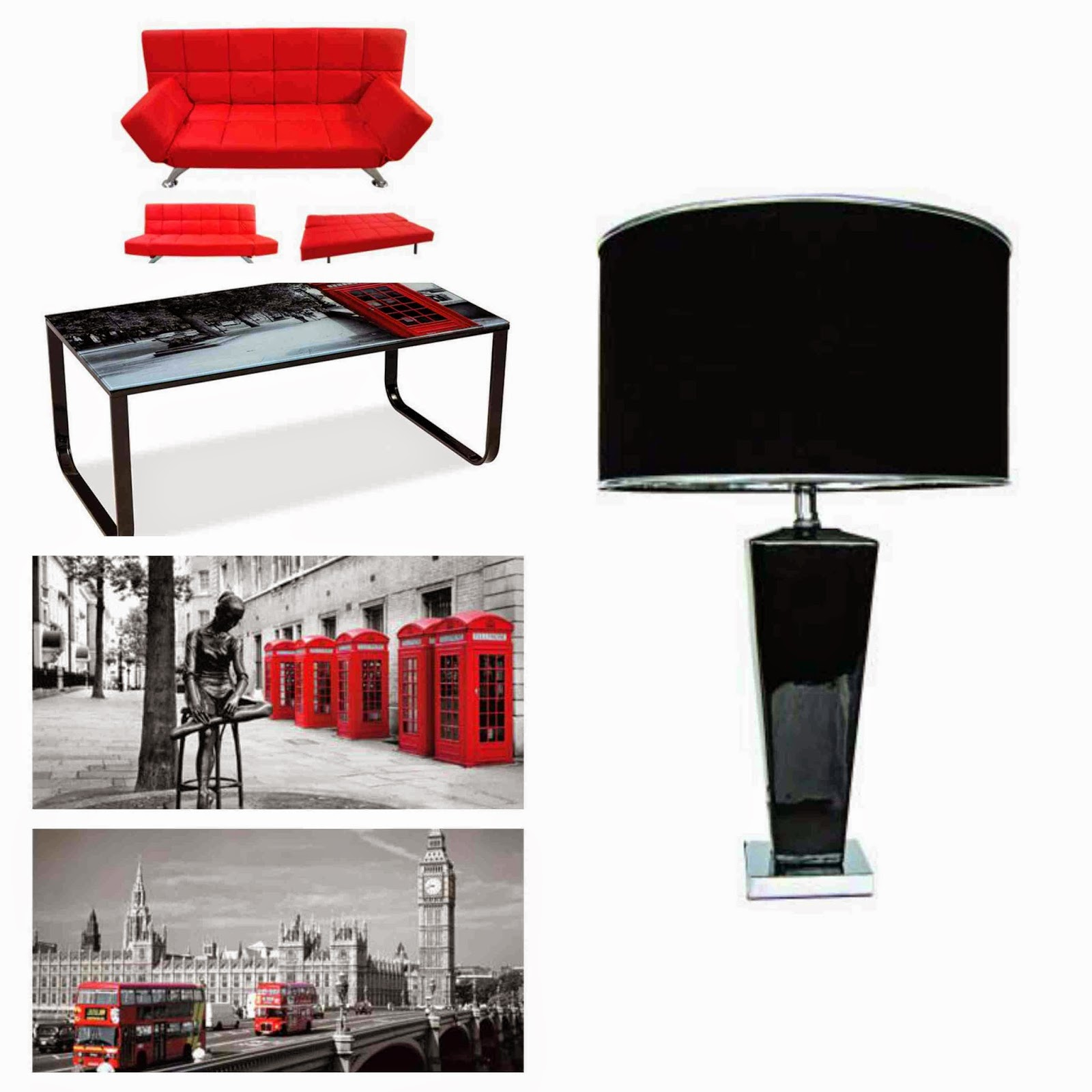 Coffee table metal legs glass top London wall art red sofa bed