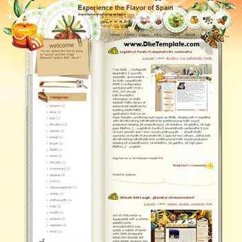 Experience the Flavor of Spain blogger template from wordpress. blogger template for travel blog