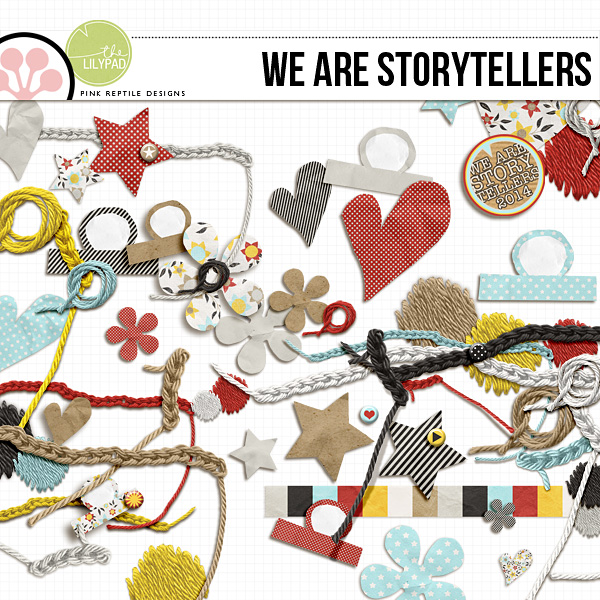 Another example is the The We Are Storytellers element pack. It is also full of little tabs with texture and unqiueness. Just look at those adorable hand cut tabs. The perfect handmade touch for any page!