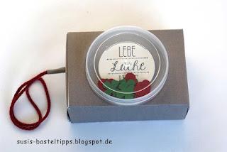 Seifenschachtel Geschenkverpackung Kamera mit Stampin Up recycled Dose als Objektiv