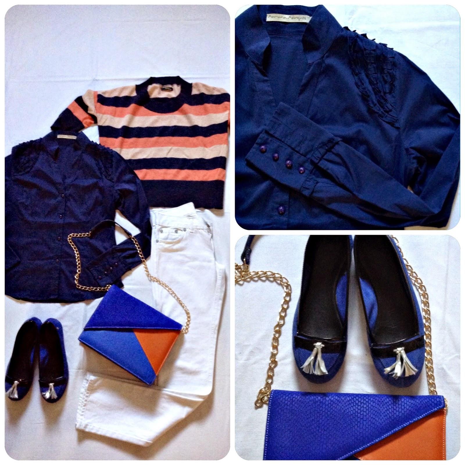 Camisa con detalles -Mariana Márquez-, Sweater -Ayres-, Jean blanco