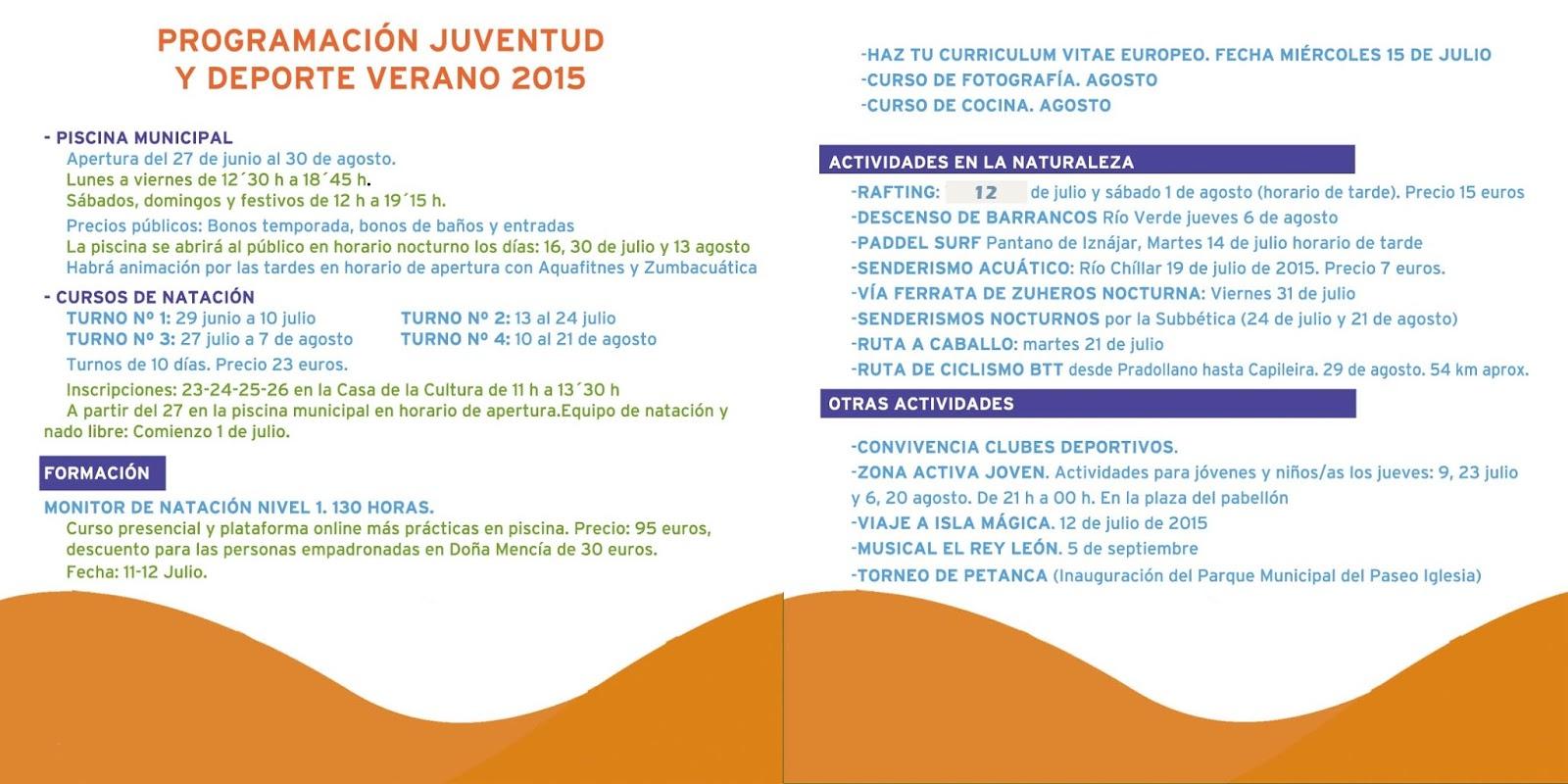 Programa actividades verano 2015 #veranodiferenteDM