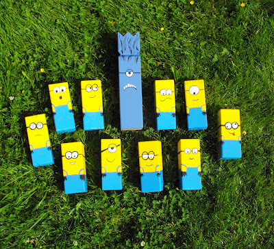Kubb, minioner, minions, kubbspel, Minionkubb, Minionspel, miniongame, dumma mig-kubb, despicable me game