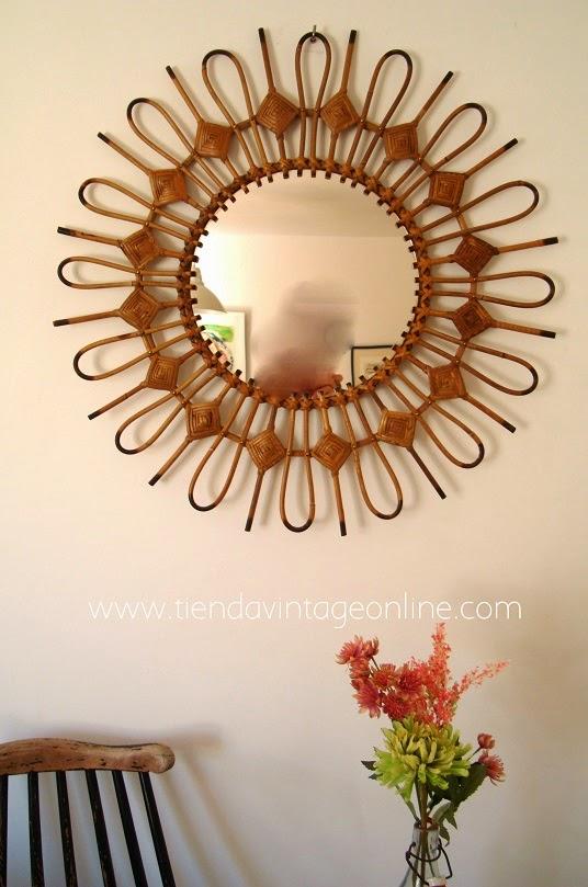 Espejos de caña años 50 y 60 artesanales. Muebles de caña y mimbre online valencia.