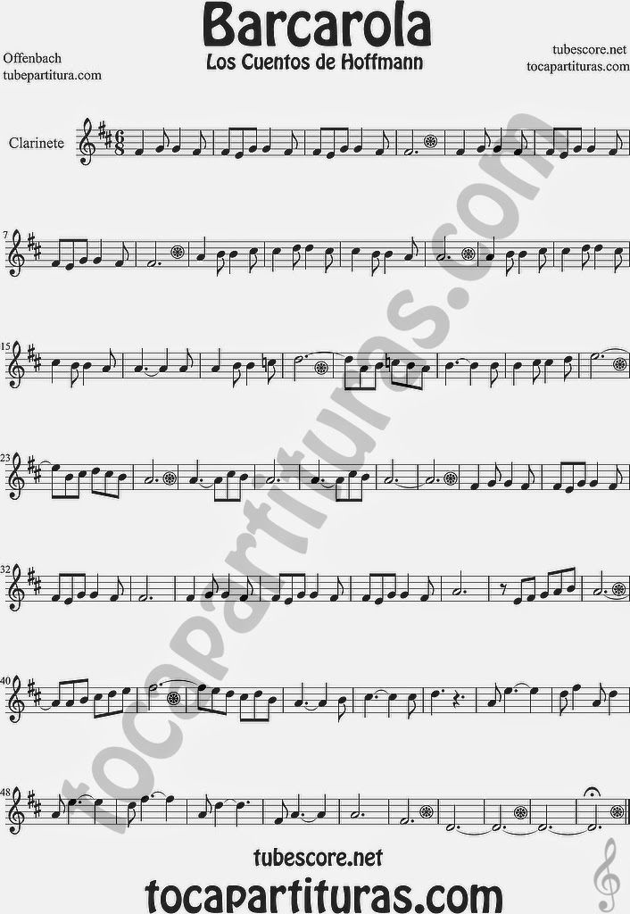 Barcarola Partitura de Clarinete Sheet Music for Clarinet Music Score Los cuentos de Hoffmann by Offenbach