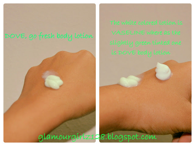 Vaseline or Dove body lotion swatches
