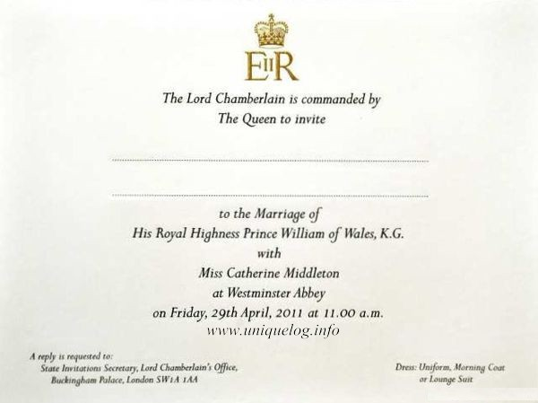 prince william wedding invitation list. Prince William and Kate