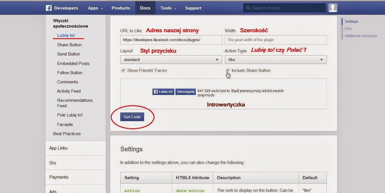 Facebook - wtyczka Lubię to!