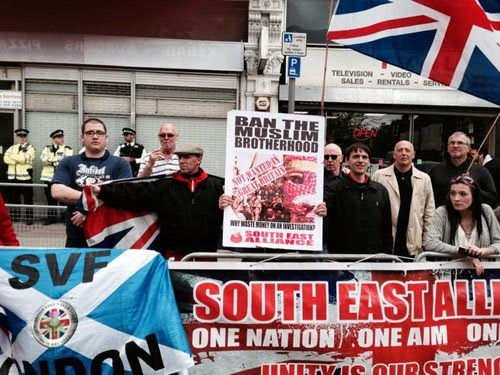 Members of South East Alliance demonstrate in  front of the Muslim Brotherhood headquarters in London - April 6, 2014