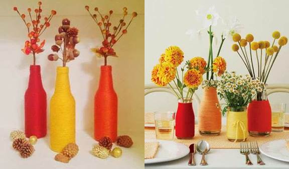 Gambar kerajinan botol bekas berhias benang warna warni unik cantik dan menarik