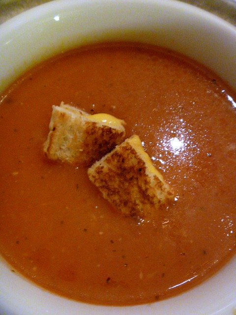 Slice of Southern: Easy Tomato Soup with Grilled Cheese Croutons