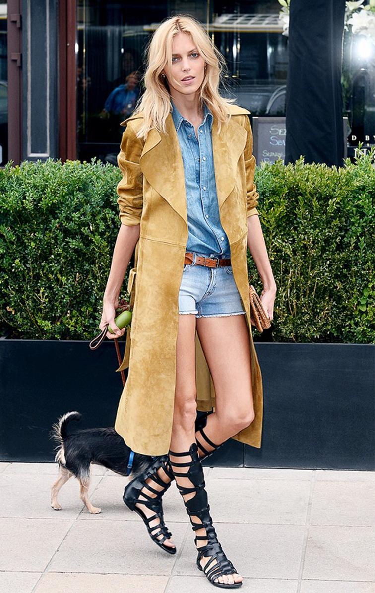 Anja Rubik, model off duty, Saint Laurent suede trench, gladiator knee high sandals, all denim