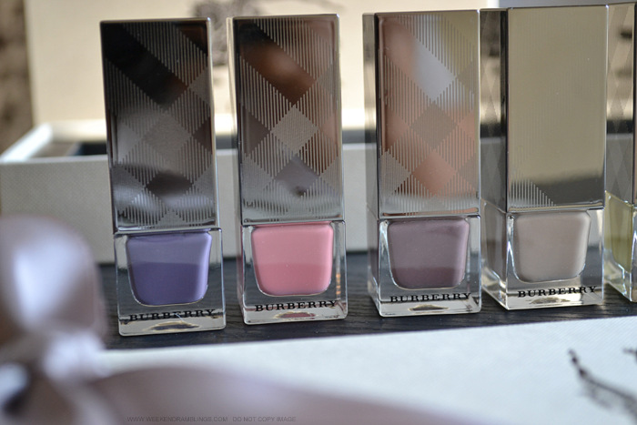 Burberry spring summer 2014 runway nail polish collection photos swatches 105 mink 400 rose pink 405 dusky mauve 410 pale grape 415 yellow 420 sage green makeup beauty blog