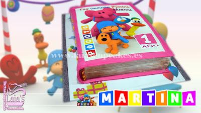 Tarta de fondant e impresión comestible Libro Pocoyó. Laia's Cupcakes Puerto Sagunto
