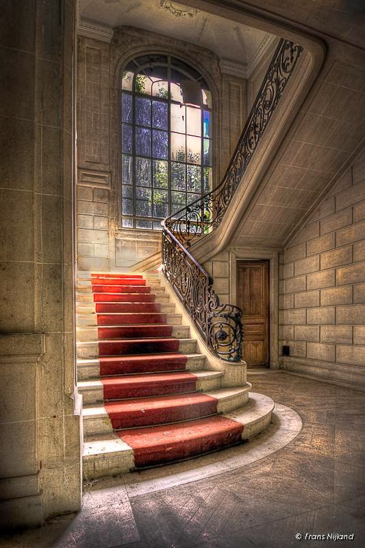 stairs in an abandoned French castle