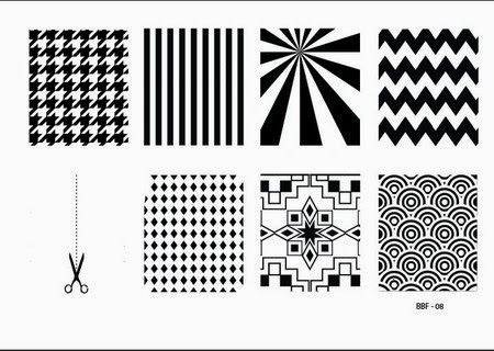 Lacquer Lockdown - stamping, nail art, easy nail art ideas, easy nail art, cute nail art, diy nails, diy nail art, indie plate maker, new stamping plates 2014, new nail art plates 2014, new nail art image plates 2014, new stamping plates, LojaBBF, Loja BBF, full nail images, houndstooth pattern, chevrons, stripes, dots, abstract patterns, wall paper design, scissors, dotted lines, lojaBBF 08, BBF 08