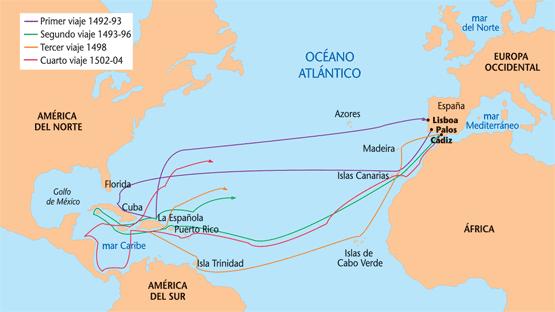 Los cuatros viajes de cristobal colon en mapa - Imagui