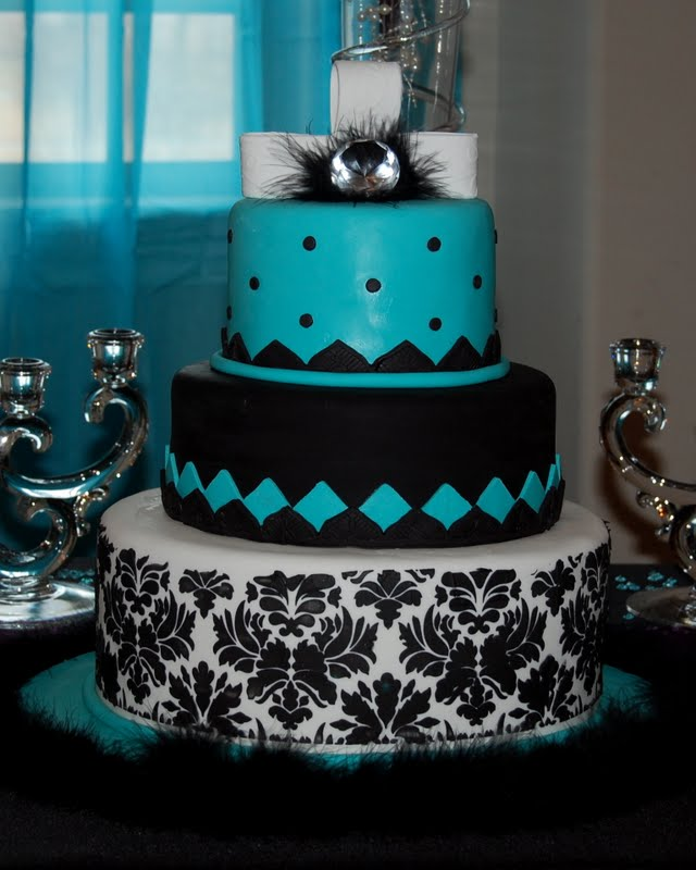 Cakefilley Turquoise And Black Wedding Cake