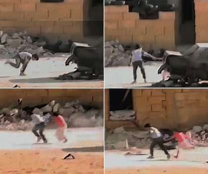 Fake video stills of Syrian boy 'hero' rescuing young girl