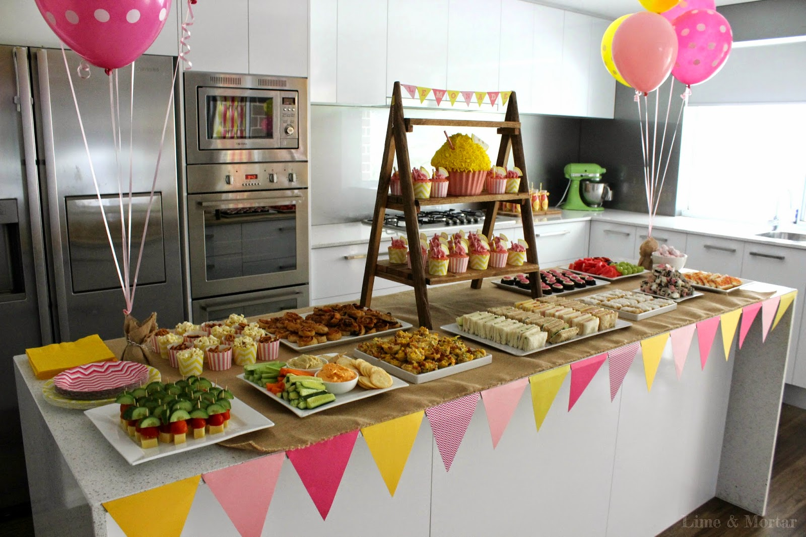 Lime mortar kids parties lemonade stand party - Kids party food table ideas ...