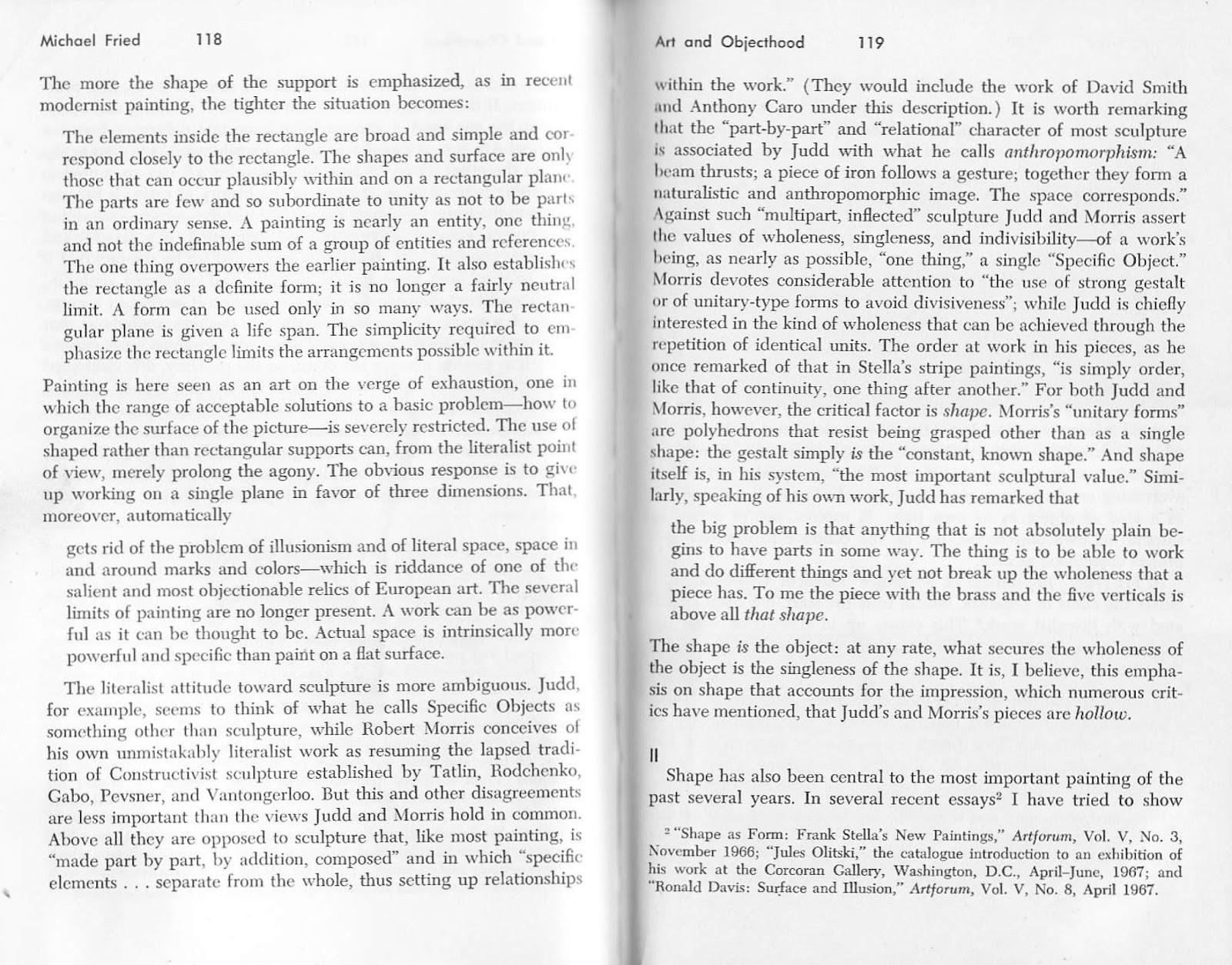 objecthood essay Objecthood' research papers - academiaedu'art and objecthood', philosophy - sage publications michael fried's art and objecthood .