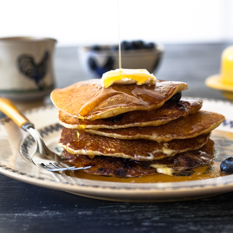 Maine and blueberry cornmeal pancakes: The way life's supposed to be