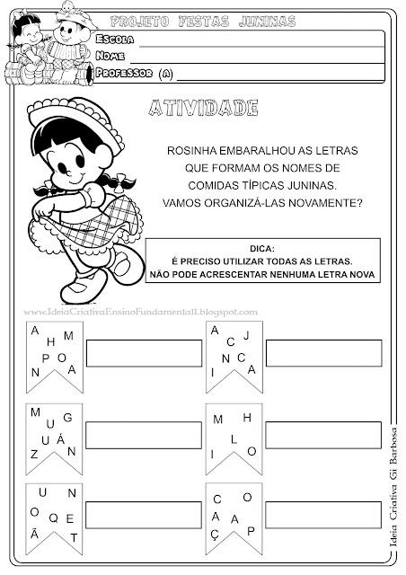 Atividade Letras Embaralhadas Festas Juninas