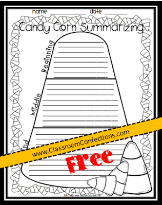 http://www.teacherspayteachers.com/Product/Candy-Corn-Summarizing-Activity-967104