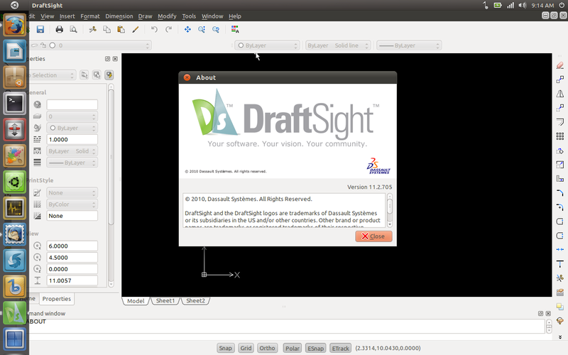 DraftSight di Ubuntu 11.04 Natty Narwhal Beta 2