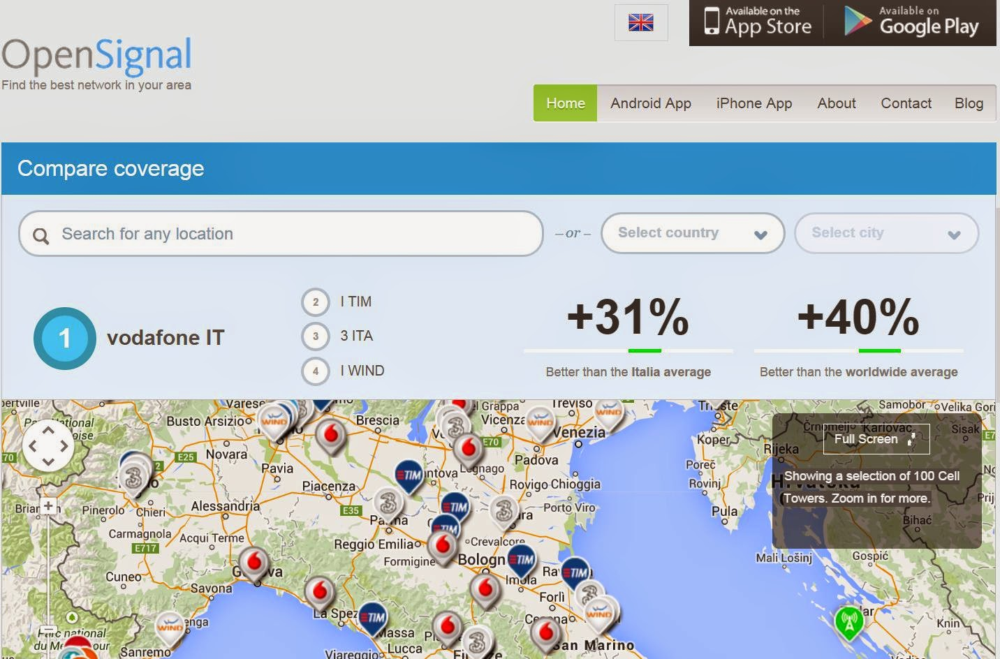 OpenSignalMaps: Mappa posizione ripetitori Telefonici
