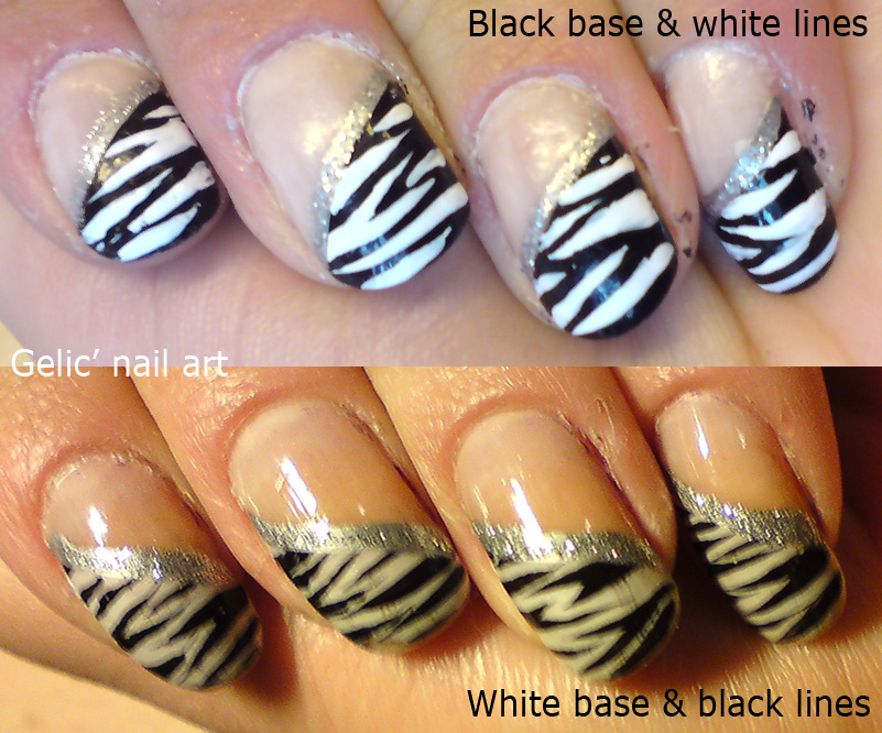Gelic Nail Art Comparison Between Base Color In Zebra Nail Art Designs