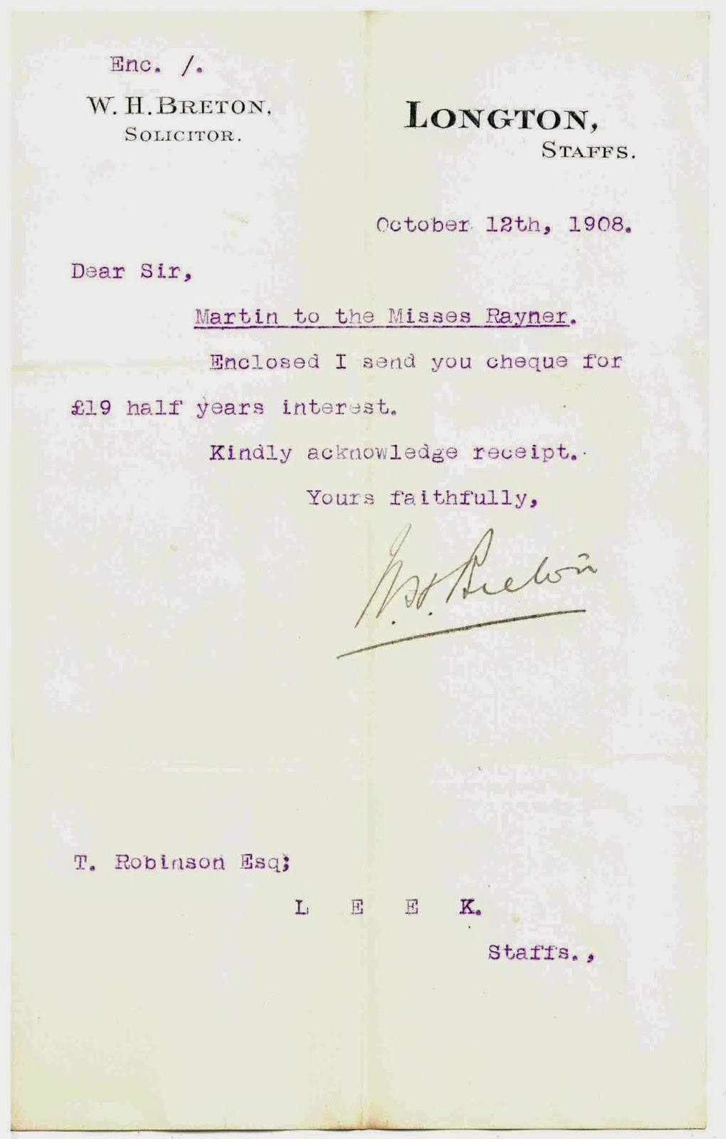 Typed Letter from W. H. Breton Solicitor, Longton, Staffordshire - Martin to Misses Rayner, 1908