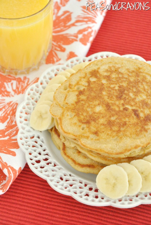 Whole Wheat Oatmeal Pancakes  with Honey Maple Syrup