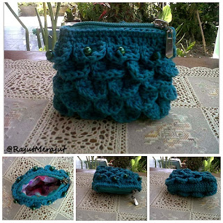 Crochet Coin Purse with Crocodile Stitch, crocodile stitch, tusuk buaya