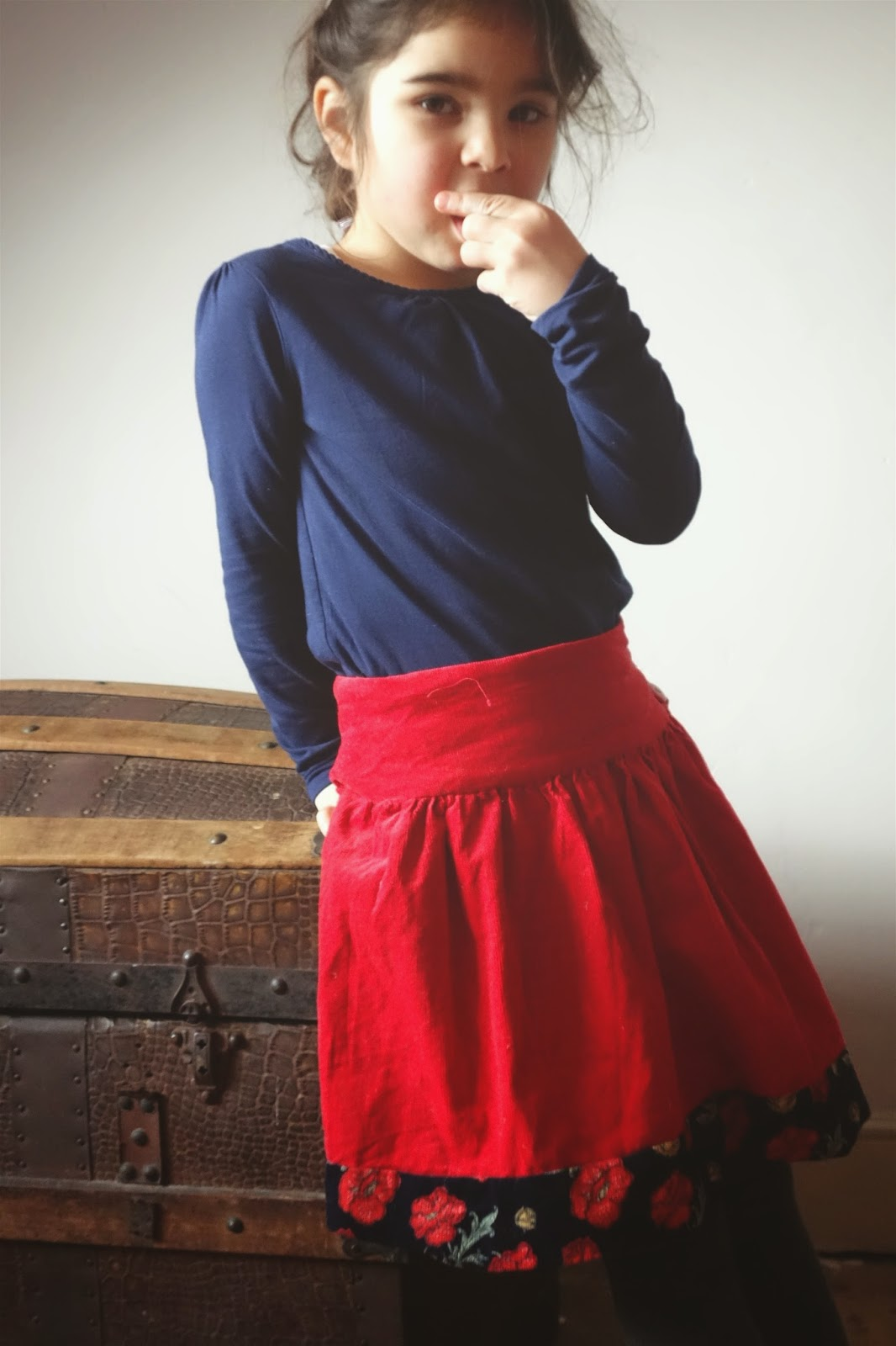 Red skirt, Akiko Mano's Linen, Wool, Cotton Kids,