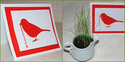 открытка с птичкой, вырезание в скрапбукинге, открытка своими руками,