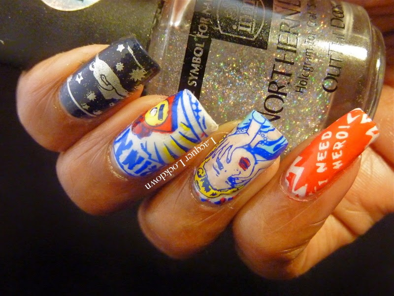 Lacquer Lockdown - stamping, MoYou London, MoYou London Comic Collection, Comic Collection 03, Comic Collection 05, superhero nails, comic book nails, graphic art nails, Orly Satin Majestic Satin, IMN Northern Lights, Mundo de Unas stamping polish, Wet N Wild French Creme, stamping, nail art, diy nail art, cute nail art, new nail art ideas, cute nail art ideas,