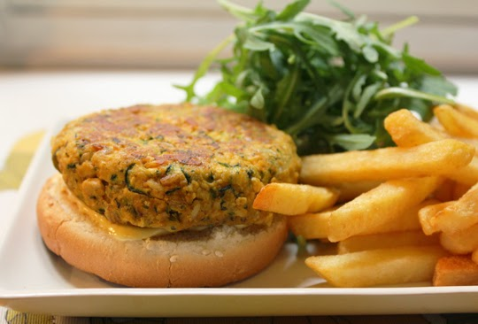 tofu and courgette vegetarian burger
