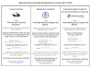 pnw district optimist international scholarship contests