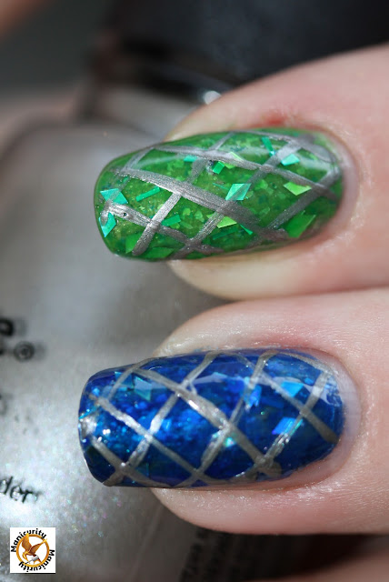 Hunger Games District Four nails featuring China Glaze Hook and Line macro