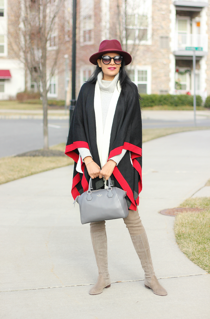 Stuart Weotzman Lowland Boots, How to wear a cape, How to wear a ruana, Burgundy Wool Fedora Hat, Kate Spade Pippa Bag
