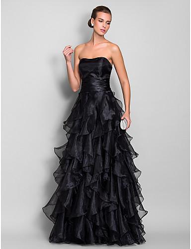 Vestido de Noche Negro con Volantes